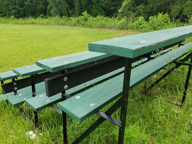 Advisory Council volunteer Greg James has been maintaining slow but steady progress on refurbishing three sets of old bleachers that had been out of use for many years.