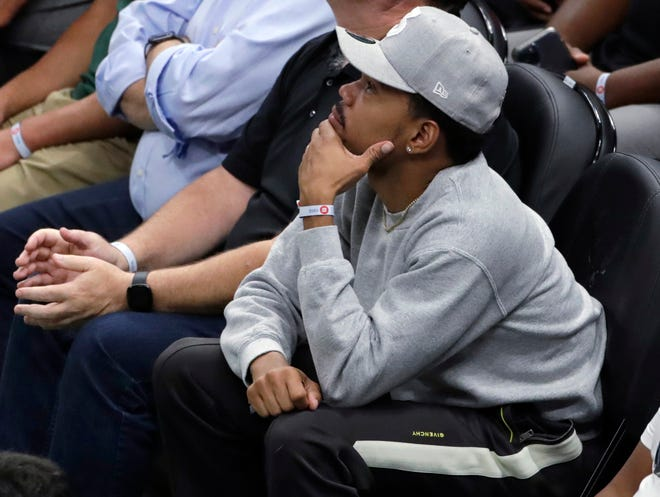 Chance The Rapper takes in Game 5 of the Eastern Conference finals between the Bucks and Hawks in Milwaukee.