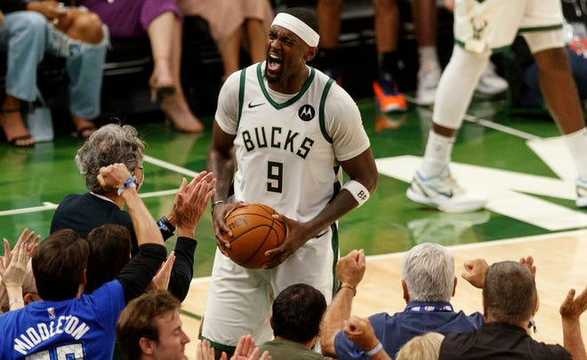 Milwaukee Bucks forward Bobby Portis got the crowd fired up after a big fourth-quarter play during Game 5 on Thursday.