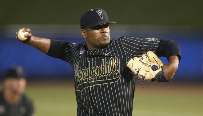 Vanderbilt pitcher Kumar Rocker (80) pitches against Arkansas during the SEC Tournament Thursday, May 27, 2021, in the Hoover Met in Hoover, Alabama. [Staff Photo/Gary Cosby Jr.]  Sec Tournament Vanderbilt Vs Arkansas