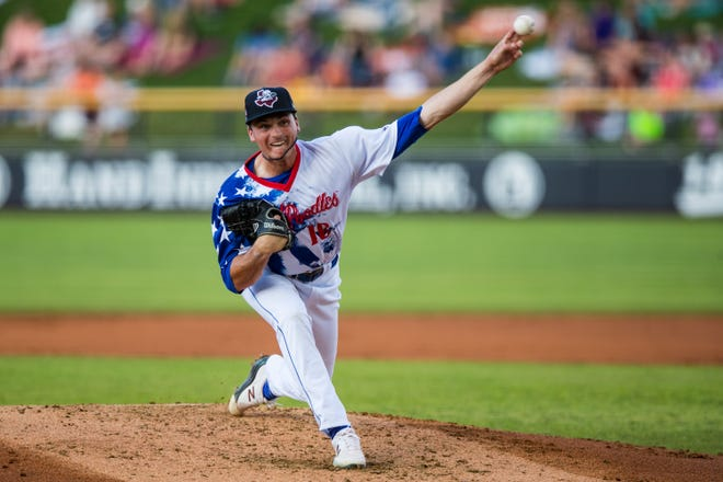 Amarillo Sod Poodles pitcher Tommy Henry (16) pitches against the Wichita Wind Surge on Friday, July 2, 2021, at HODGETOWN in Amarillo, Texas.