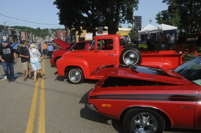 Vehicles on display during the Loudonville annual car show and Antique Festival sponsored by the Chamber of Commerce in downtown Loudonville Satuday July  3,2021.STEVE STOKES/FOR TIMES-GAZETTE.COM