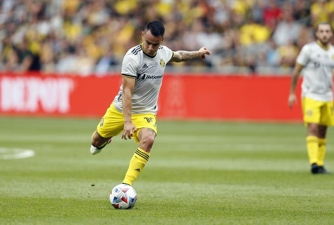 Columbus Crew midfielder Lucas Zelarayan (10) takes a free kick against New England Revolution during the first half of their MLS game at Lower.com Field in Columbus, Ohio on July 3, 2021.