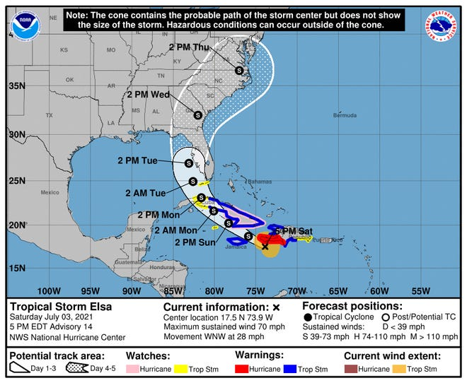 This is the National Hurricane Center's latest five-day forecast of the path Tropical Storm Elsa is likely to take as of 5 p.m. Saturday, July 3, 2021.