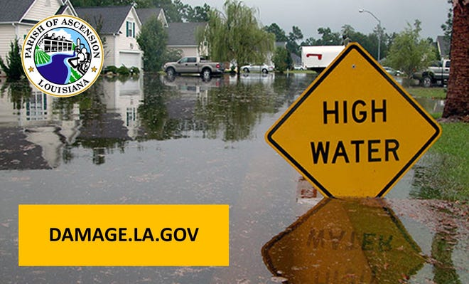Ascension Parish officials urge residents to self-report flood damage.