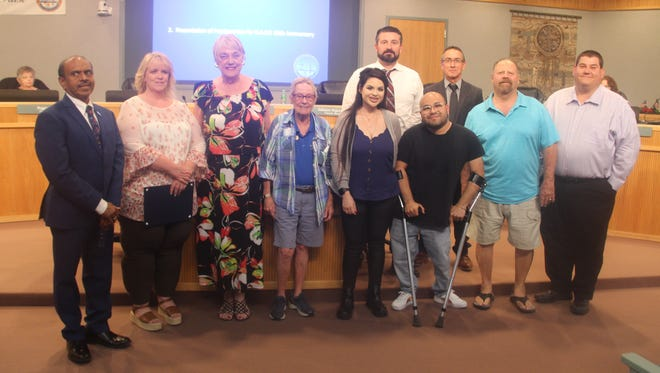 Pictured: representatives from DART with council members at the June 16, 2021 Ridgecrest City Council meeting.