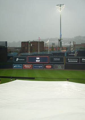 Saturday's WooSox game against Scranton/Wilkes Barre was suspended by rain in the second inning and will be completed Sunday before the regularly scheduled game.