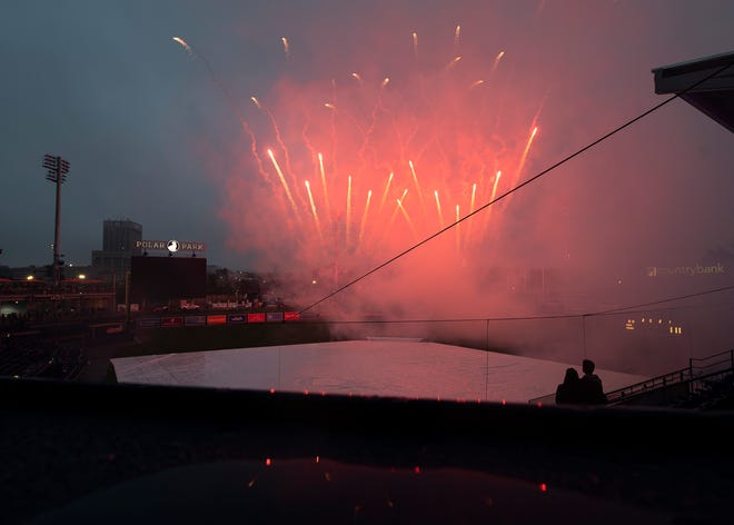 WORCESTER - Fireworks presented by Unibank are set off at Polar Park on Friday. Rain forced a game postponement, but the fireworks went on.