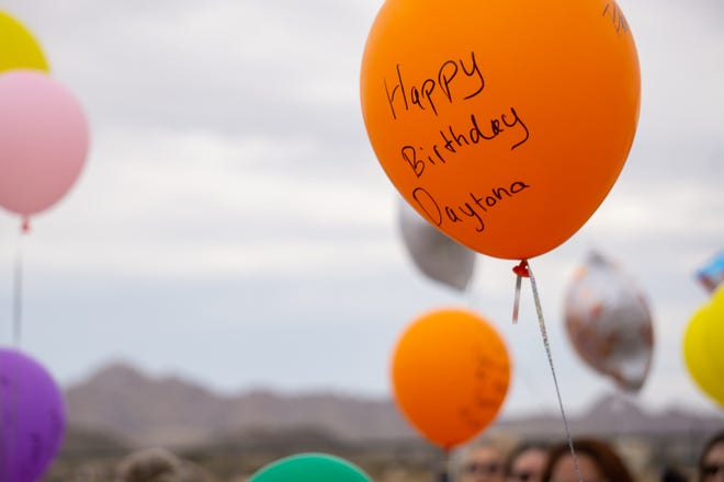 """A balloon held by a person at Midway Park in Lucerne says """"Happy Birthday Daytona"""" on Saturday, July 3, 2021. Daytona Bronas was one of three young girls killed in a hit-run-crash in the area in June."""