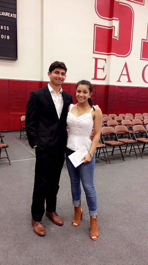 Andreas Giannitsopoulos poses for a photo with his sister, Athanasia. Andreas Giannitsopoulos died in the Surfside, Florida, condo collapse.
