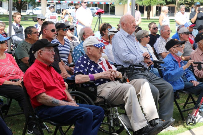 Surviving Carlsbad WW II members listen to speeches on July 3, 2021 in a ceremony honoring their service.