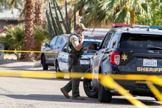 Riverside County Sheriff's deputies respond to a call at a home in the 16000 block of Via Vista on July 2, 2021.