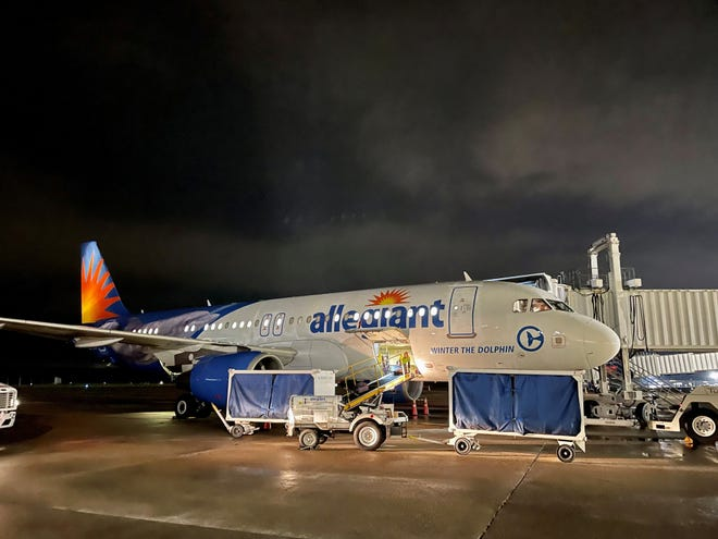 Allegiant aircraft for the inaugural first flight to L.A. out of Shreveport Regional Airport