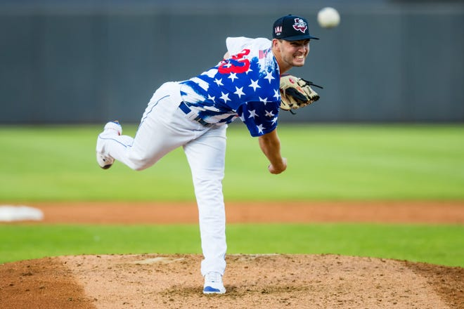 Amarillo Sod Poodles pitcher Bryce Jarvis (23) throws a pitch during a game against the Wichita Wind Surge on Saturday, July 3, 2021, at HODGETOWN Stadium in Amarillo, Texas.