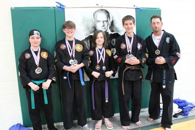 Pictured from the left are Canton residents who participate in Kemp (karate) through the YMCA and recently were invited to participate in Nationals: Elizabeth Roderick, Jorden Prescher, Evalynn Roderick , Ryan Fontana and Mr.Christopher Roderick. Nationals were held in Springfield, Missouri, National College of Martial Arts.