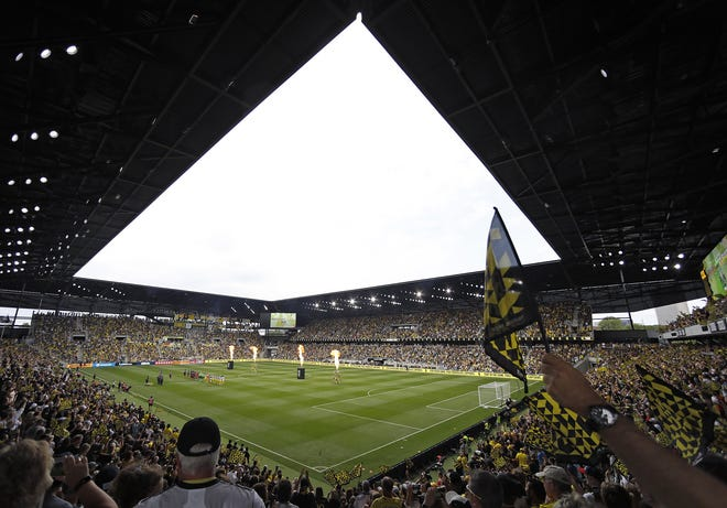 Columbus Crew gets ready to take on New England Revolution during the first half in their first MLS game at Lower.com Field in Columbus, Ohio on July 3, 2021.
