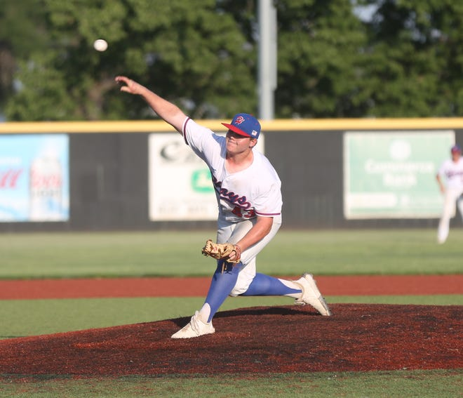 Carson Spray delivers a pitch in Saturday's final of the Wild West Fest tournament.