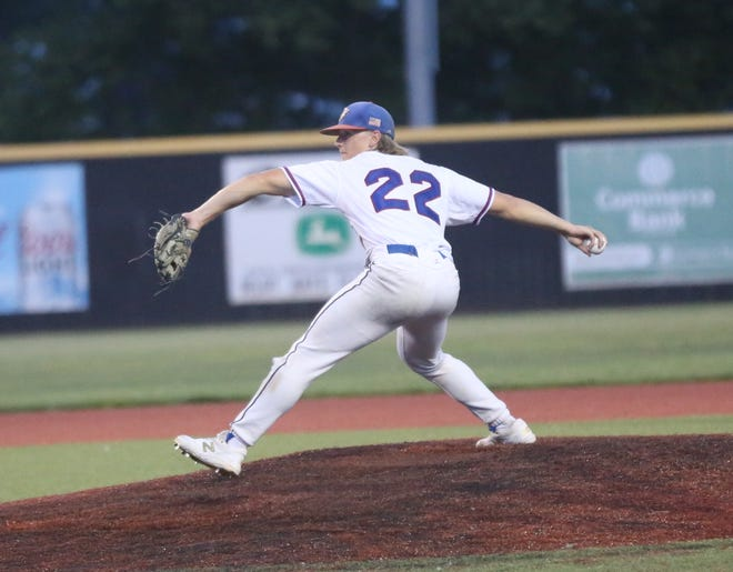 Brady Kreutzer winds up for a pitch for the Hays Eagles in the Wild West Fest Tournament.