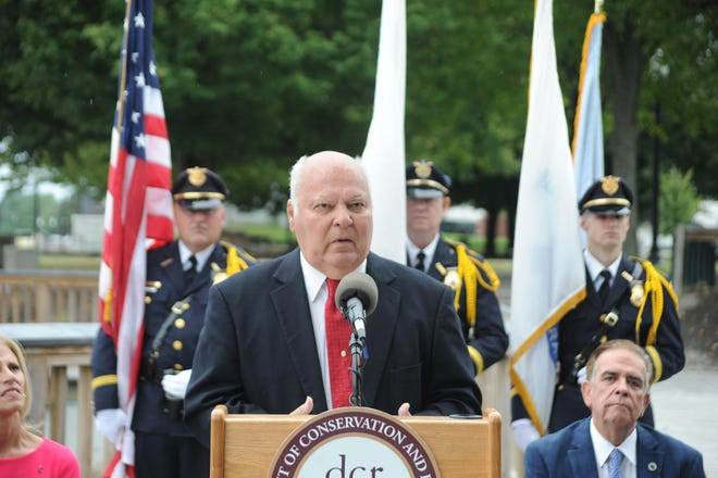 Former mayor Bob Correia, at an outdoor ceremony at Fall River Heritage State Park near Battleship Cove, when the boardwalk that runs along the Taunton River was officially named in his honor.