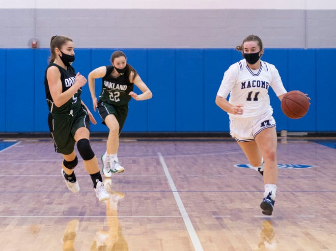 Airport graduate Emily Swiercz (right) capped her basketball career at Macomb Community College by earning All-American honors in the National Junior College Athletic Association Division II.