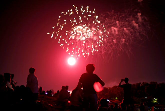 People watch the Fourth of July fireworks show Saturday at Freedom Fest at Chisholm Trail Park in Yukon. Recent rainfall helped reduce fireworks-related fire runs over the weekend, officials say.