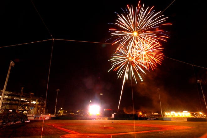 Fireworks fly into the sky after the Ports play the Lancaster Jethawks at Stockton Ballpark in 2005. Saturday was the first oftwo Independence Day celebrations at Stockton Ballpark this holidayweekend.