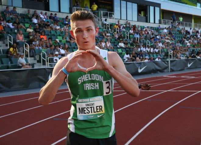 """Vincent Mestler flashes the Oregon """"O"""" after competing in the boys 800 meters at the National Scholastic Athletics Foundation's Outdoor Nationals at Hayward Field Saturday."""