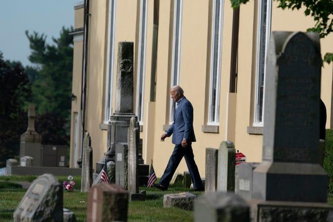 President Joe Biden departs after Mass at St. Joseph on the Brandywine Catholic Church Sunday, July 4 in Wilmington, Delaware. Biden is the second Catholic president of the United States. (AP Photo/Alex Brandon)