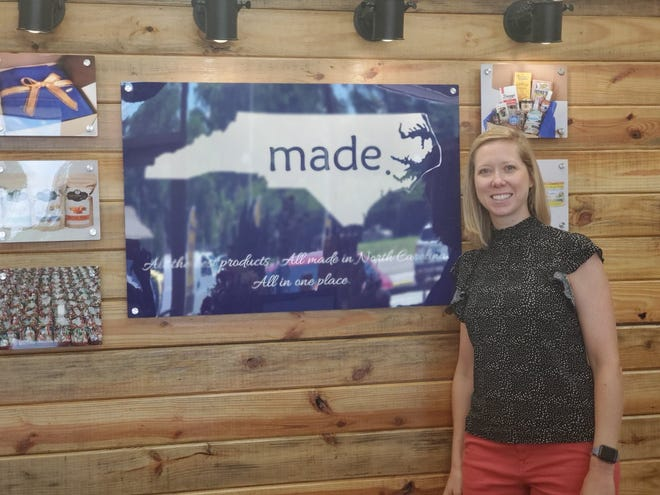 Kelli Billingsley, pictured, and Mark Mangum recently opened Made In NC. The store has nearly 700 products that are all made in the state.