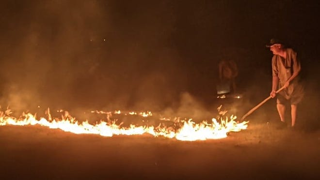 A Saturday night vegetation fire at Pleasant Valley Estates was apparently caused by fireworks, according to the Aberdeen Rural Fire Department.