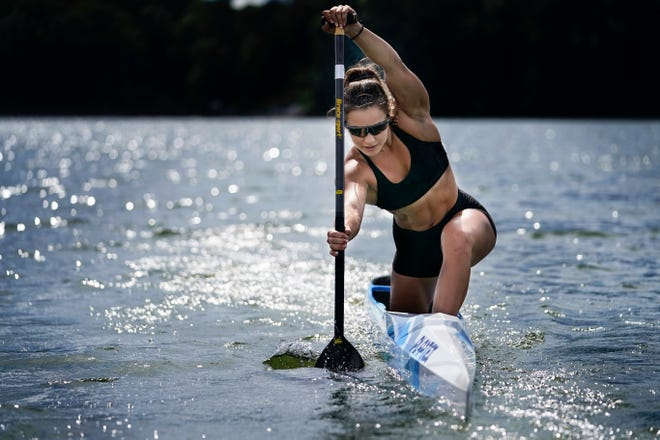 Canoe sprint world champion Nevin Harrison, 19, of the Gig Harbor Canoe and Kayak Racing Team, trains near Lake Lanier Olympic Park on  July 1, in Gainesville, Ga. Harrison won the world championship in the women's sprint canoe 200 meters as a 17-year-old in 2019. Now she'll try to duplicate that at the Olympics in Tokyo where the race will be a new event in a bid for gender equity.