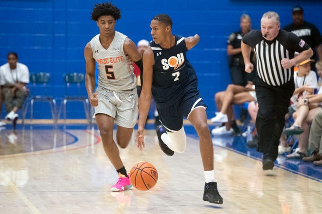 Tennessee Basketball commitment BJ Edwards guards Hansel Emmanuel Donato Dominguez during a basketball showcase at William Blount High School on July 3.