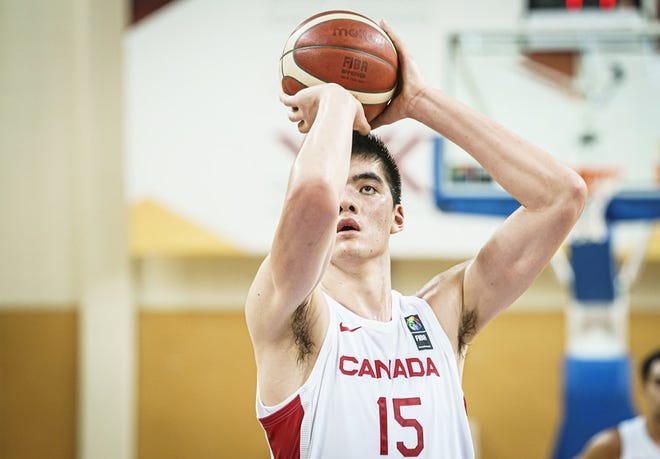 Purdue sophomore Zach Edey shoots a free throw at the FIBA U19 World Cup