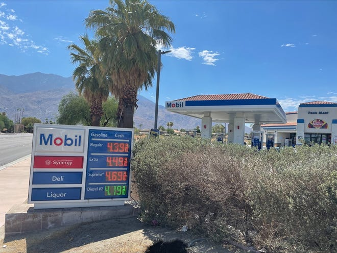 The Mobil station on Ramon Road near the Palm Springs International Airport was selling regular unleaded for $4.39 a gallon on Sunday, July 4, 2021.