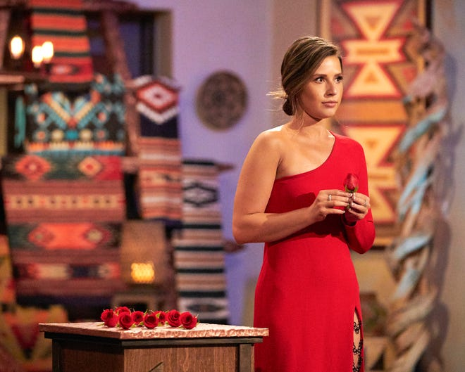 """Katie Thurston hands out roses in Monday's episode of """"The bachelorette."""""""