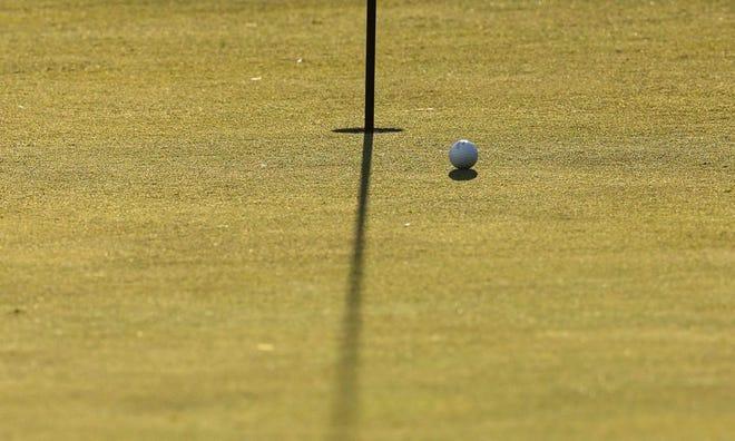 A golf ball sits near the hole.
