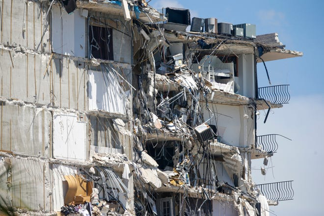 A view of the partially collapsed Champlain Towers South in Surfside, Florida on Saturday, July 3, 2021.