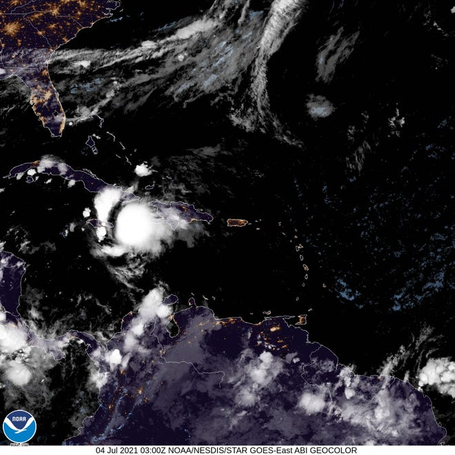 This NOAA/NESDIS/STAR GOES handout satellite image taken on July 4, 2021, shows tropical storm Elsa off the southern coast of Haiti.