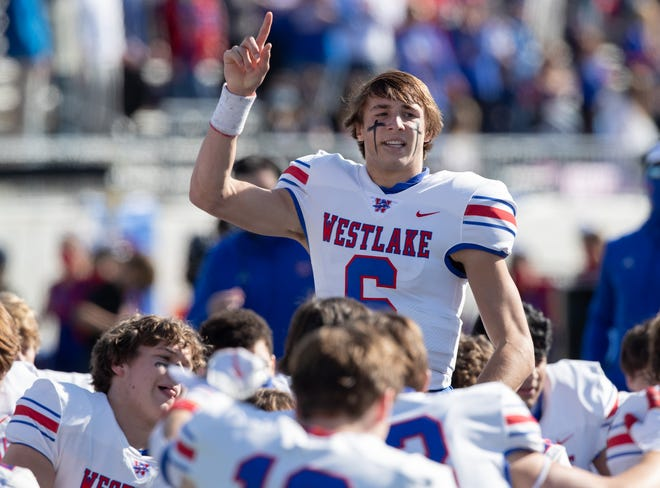 Westlake quarterback Cade Klubnik talks with his teammates prior to the Chaps' 24-21 win over Galena Park North Shore in a playoff game in January. Klubnik, a Clemson pledge, earned MVP honors at this past weekend's Elite 11 quarterback competition.