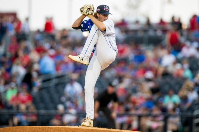 Amarillo Sod Poodles pitcher Matt Tabor (24) pitches against the Wichita Wind Surge on Sunday, July 4, 2021, at HODGETOWN in Amarillo, Texas.