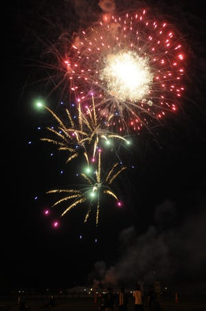Fireworks filled the sky during Ashland Fourth of July fireworks sponsored by the Rotary Club at Community Stadium Sunday July 4,2021.STEVE STOKES/FOR TIMES-GAZETTE.COM
