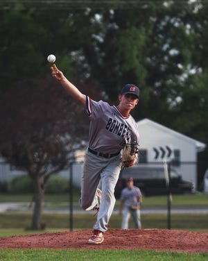 Jaden Peasley threw seven strong innings in defeat for Ballard against No. 5 (Class 3A) Gilbert June 30 at Gilbert. The Bombers fell to the Tigers by a 3-0 score, but scored wins over Winterset and Carroll during the week to improve to 16-9 overall and 12-5 in the RRC.