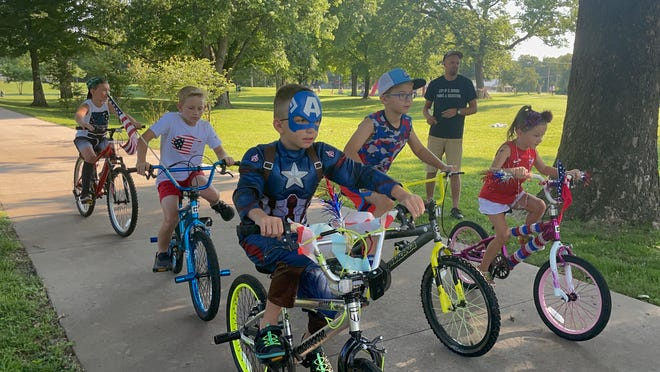 Many kids came out for the patriotic bike parade complete with costume.