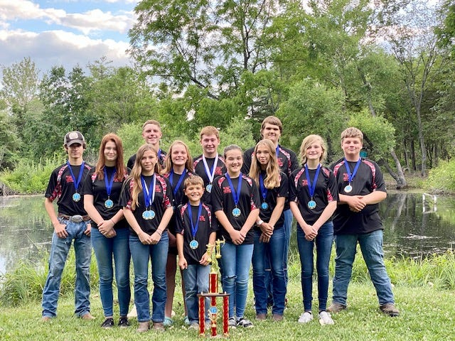 Pictured, front from the left are members of the Cuba Archery Team: Shay Strode, Bentley Strode. Myleigh Strode. Middle row: Medesta Pigg, Grace Yaste, McKenna Strode, Harleigh Waughtel. Back row: Hunter Williams, Jacob Yaste, Andrew Barr, Joseph May Tobias Waller. Member Tanner Brooks is not pictured.