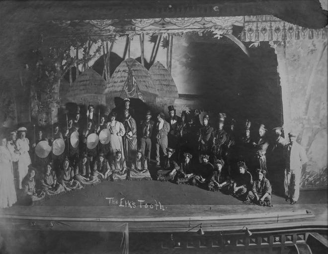 """Cast of """"the Elk's Tooth."""" From 1907, these are the earliest known photographs of the interior of the Opera House"""