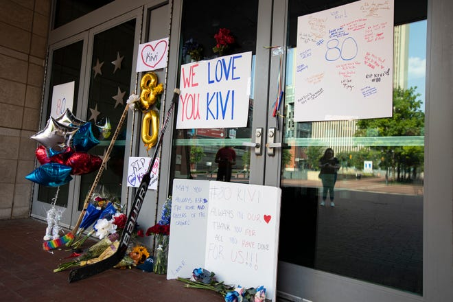 Fans have created a memorial in honor of Columbus Blue Jackets goaltender MatissKivlenieks at the East gate of Nationwide Arena in Columbus, Ohio July 5. Kivlenieks was killed Sunday in a fireworks incident in Michigan.