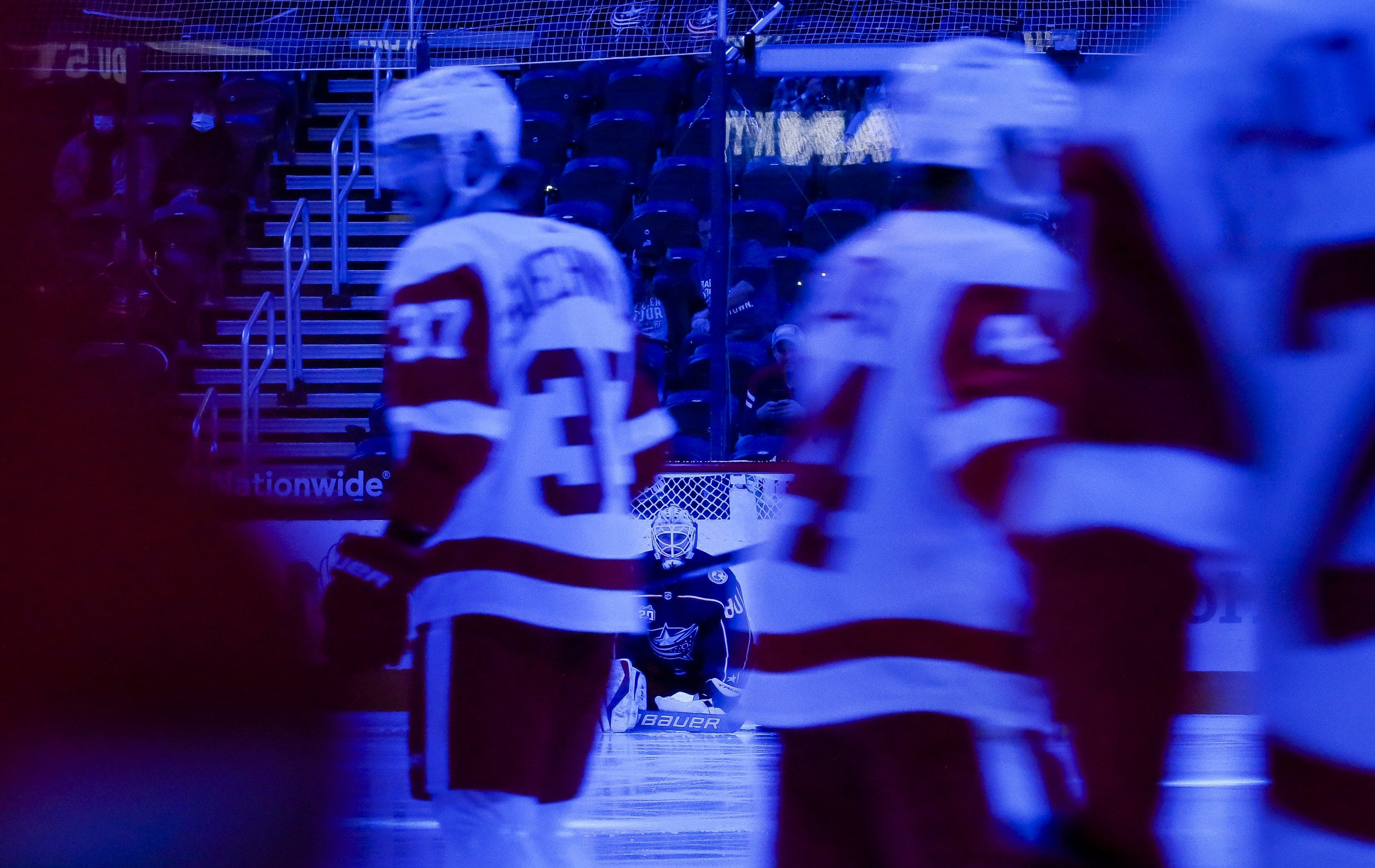 Matiss Kivlenieks (80) sits in net prior to the NHL hockey game against the Detroit Red Wings in Columbus on Saturday, May 8, 2021.