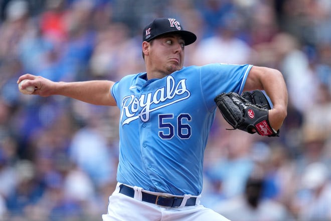 Kansas City Royals starting pitcher Brad Keller throws during the first inning of Sunday's game against the Minnesota Twins at Kauffman Stadium. Keller, despite giving up just two runs in 6 1/3 innings, suffered the loss as Minnesota won 6-2.