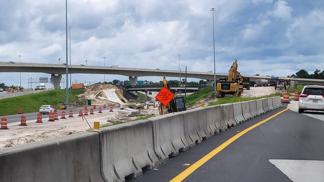 The Interstate 95 northbound ramp off I-295 (left) as it heads west at the Northside intersection through the interchange improvement project.