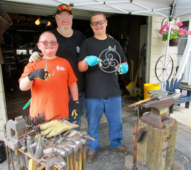 Richard Trahan shared his blacksmith skills with family and friends in Geneseo.
